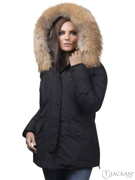Polar Mid Real Fur i svart natur från Rock And Blue | Jackan.com