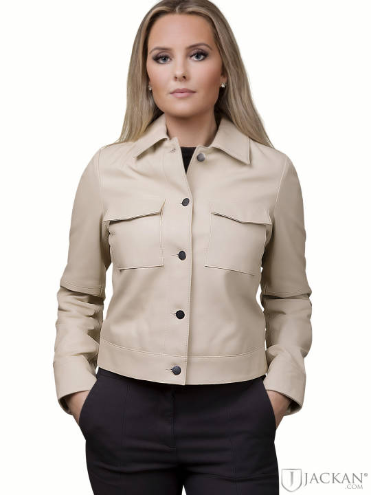 Lynn Pocket Leather Jacket i beige från Jofama | Jackan.com